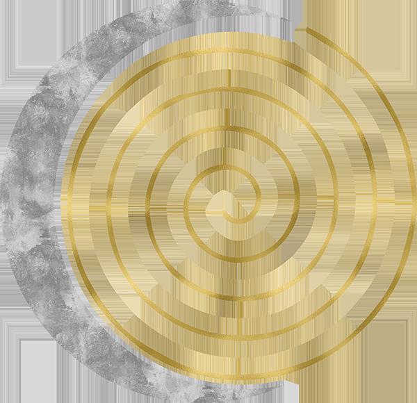 Goldene Spirale und silberfarbene Mondsichel